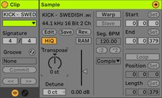 An image of Ableton's Audio Clip Editor. Low Pitch, Midi Keyboard, Spectrum Analyzer, Ableton Live, Drum Kits, Music Theory, Tone It Up, Me Me Me Song, Latest Music