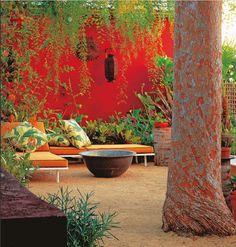 vibrant red garden corner | adamchristopherdesign.co.uk