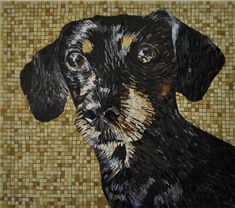 Each piece is made up of of thousands of pieces of hand cut glass mosaic that are assembled to produce an exquisite representation of your pet. Based in Barcelona, Martin working from a selection of photos or specific photo of your dog.  The commissioned works are about 28″ x 24″ in order to get the best detail possible, and take about four weeks to complete.Martin Brown Mosaic