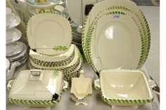 A Burleigh ware Barley pattern part dinner service for six, including tureens, meat plates, sauce