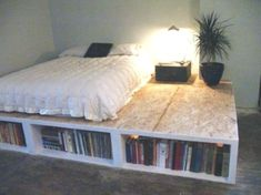 DIY Platform Beds Perfect For Your Room, You Must See! How to build a beautiful DIY bed frame & wood headboard easily. Free DIY bed plan & variations on king, queen & twin size bed, best natural wood Queen Platform Bed Frame, Wooden Platform Bed, Platform Bed With Storage, Bed Platform, Living Room Storage, Bedroom Storage, Diy Bedroom, Bedroom Ideas, Bedroom Club