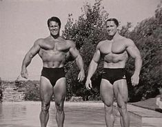 ILYKS.COM - Reg Park and Arnold Schwarzenegger standing in pool with arms out wide Photo may be from Arnold s Trip to Africa to See Reg With Reg Park