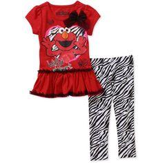 Sesame Street Elmo Toddler Girl Tee and Legging Set