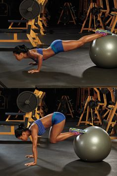 PUSHUP / KNEE-IN total body workout with the Medicine Ball: Chest, Core, Abs
