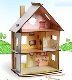 dollhouse from cardboard Cardboard Dollhouse, Cardboard Furniture, Cardboard Crafts, Barbie Furniture, Diy Dollhouse, Doll House Cardboard, Cardboard Playhouse, Dollhouse Furniture, Diy For Kids
