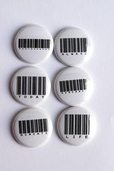 Barcode Sentiments Flair buttons by kidsmom1999 on Etsy, $6.00
