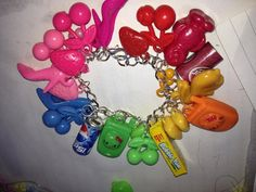 Rainbow kitsch Gumball bracelet with kawaii charms by LoveAsHoney, £7.00