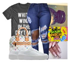 """"""""""" by kodakdej ❤ liked on Polyvore featuring Louis Vuitton and Puma"""