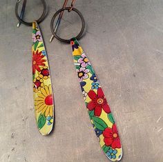 Allover Flowers  Long DripDrops — Upcycled Tin Earrings