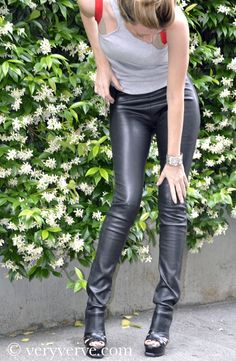 The stretch leather invention and making, Jean-Claude Jitrois, black leather pants or leggings.
