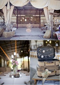 Urban Wedding - this is pretty far from urban, but I like the suitcase for love letters.  I don't consider hay or a barn urban ;0)