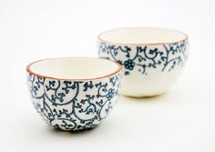 Two Ceramic Bowls  Vintage Look Pottery  Handmade by susansimonini