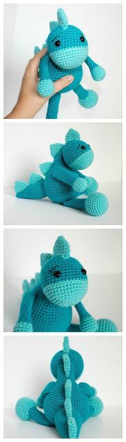 Free Crochet Dinosaur Pattern- The Friendly Dino This free crochet dinosaur pattern is perfect for the aspiring paleontologists! Full tutorial and step by step pictures. Free Crochet Dinosaur Pattern- The F Crochet Dinosaur Patterns, Crochet Amigurumi Free Patterns, Crochet Dolls, Amigurumi Tutorial, Crochet For Boys, Cute Crochet, Crochet Baby, Freundlich, Stuffed Animal Patterns