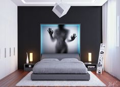 Modern Bedroom Ideas for Changing the Bedroom's Ambiance : Grey Bed White Rug Black Striped Wall Panel White Sitting Lamps