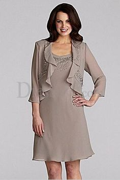 Soft Mother of the Bride Dress with Cropped Jacket