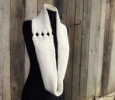 Infinity Scarf Crochet White Bows Cashmere by ChronologyOfCrochet,