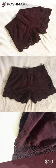 Deep Plum Crochet Shorts Deep Plum shorts with crochet detailing at bottom • has pockets • stretchy waistband • women's 6 but runs a little small • offers are welcome! H&M Shorts