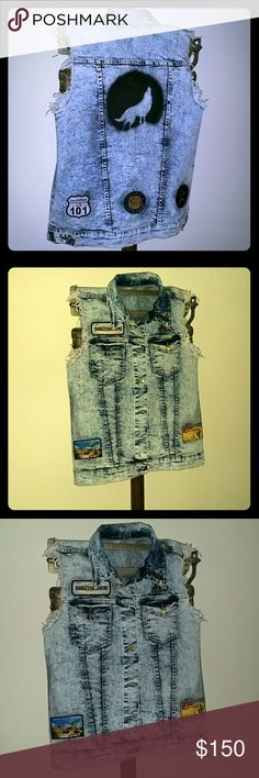 Coachella/Cali/Mojave Desert/Distressed Denim Vest Oversized Medium Custom Distressed Acid Wash Denim Vest. Unisex.  #Coachella#Wanderlust#Day Tripper#Nomad#Gypsy#Hippie#Boho#Coachella Valley#California Dreamin'#Adventurer#Lone Wolf No Club#Joshua Tree#Mojave Desert#Hoof & The Horn#Pappy & Harriet's#Hollywood Stuntman League#Harley Davidson#Tomboy#Nature Bather Will take custom orders ! custom designed Jackets & Coats Vests