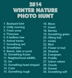 Fun Friday: 2014 Winter Nature Photo Hunt If you need a little inspiration to get the kids outside this winter,.