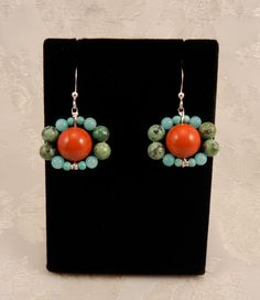 Beaded Turquoise and Red Holiday Silver Earrings