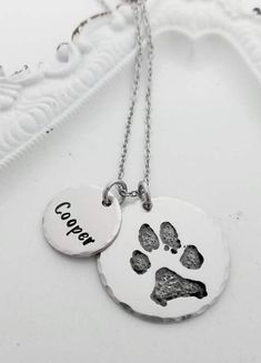 Your Pet's Actual Paw Print Necklace, Pet Memorial Necklace, Cat or Dog Paw Print Memorial Necklace, Remembrance Necklace, Pet Loss Gift