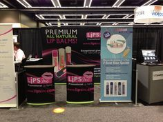 "Lips Inc's Trade Show Booth w the Sulcabrush display .. Sulcabrush ""for healthy gums""."