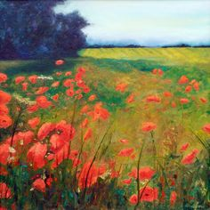"""""""Poppy Fields"""" by Jennifer Wilson, 30"""" x 30"""". Oil on canvas. 2013"""