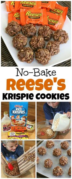 NO-BAKE KRISPIE REESE'S COOKIES4 cups Rice Krispies cereal1 cup light corn cyrup3/4 cup granulated sugar1 1/4 cups peanut butter5 regular sized Reese's Peanut Butter Cups1/2 cup milk chocolate chips