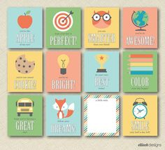 Printable lunchbox notes on Etsy - love the design