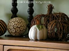Neutral fall pumpkin decor