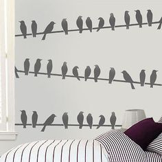 Birds on wire stencil birds pattern border Home Decor Art Craft Ideal Stencils | eBay