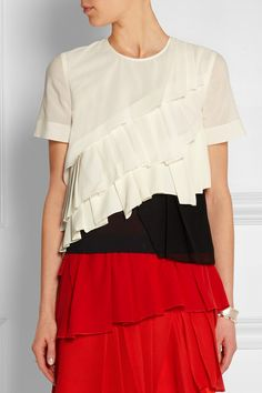 Cédric Charlier | Pleated cotton, crepe, mesh and silk-georgette top | NET-A-PORTER.COM