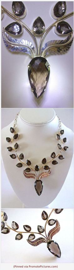 Smoky Quartz Leaves Sterling Silver Necklace, Floral Style, Vintage #necklace #vintage #sterlingsilver #smokyquartz #leaves #floral #bibnecklace #gemstone https://www.etsy.com/RenaissanceFair/listing/569203400/smoky-quartz-leaves-sterling-silver?ref=listings_manager_grid  (Pinned using https://PromotePictures.com)