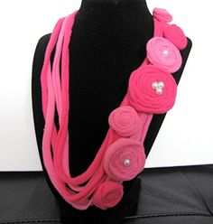 Two Tone Pink T Shirt Flower Necklace by GirlzGoneCrafty on Etsy, $20.00