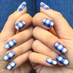 Cute blue and white gingham inspired nail polish. The design looks very clean and fascinating at the same time