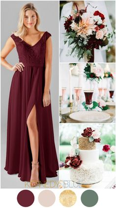 A Bordeaux & Blush wedding color palette featuring golds and deep greenery! | Kennedy Blue Bridesmaid Dress Morgan in Bordeaux