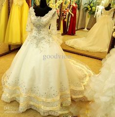 Ball Gown Weddig Dresses V-Neck Hand-Made Crystal Half See through Sleeve Lace-up Floor-Length Big Train Pageant Party Evening Dresses from Goodview,$509.21 | DHgate.com Celebrity Wedding Dresses, White Wedding Dresses, Celebrity Weddings, Formal Dresses, Bridal Gowns, Wedding Gowns, See Through, Pageant, Ball Gowns