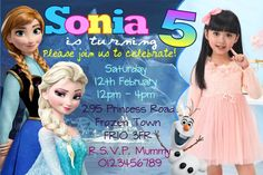 Personalised Frozen Movie Birthday Party Invitations