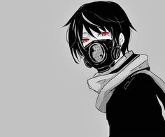 Black and white anime boy with black gas mask, and red eyes~