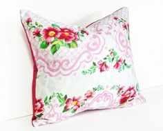 Vintage Shabby Chic Throw Pillow. Red Flowers on Pink and White Scrolls and Lattice by PillowThrowDecor