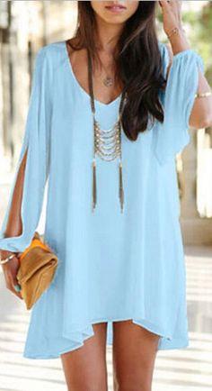 V Neck Lantern Sleeve Blue Mini Dress