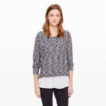 Jayda Silk-Layered Sweater - We love the mixed textures of the Jayda sweater�a nubby knit with a ruffled silk underlay that peeks out the hem.