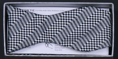 Men's Black/White Checkered Self Tie Bow Ties with Matching Pocket Squares