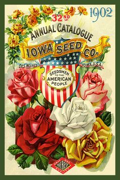 Iowa Seed Company Seed Catalog cover 1902 in a set of 4-4x6 quilt blocks produced by American Quilt Blocks. Ferry Seed Packet 1889 in a set of 4-4x6 quilt blocks by American Quilt Blocks. Vintage image printed on cotton. Ready to sew.  Single 4x6 block $4.95. Set of 4 blocks with pattern $17.95.
