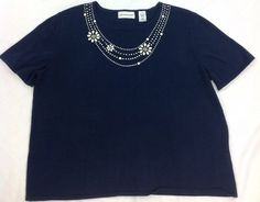 Women Alfred Dunner Size XL Navy Blue Necklace Sweater #AlfredDunner #Sweater #navy #forsale #ebay