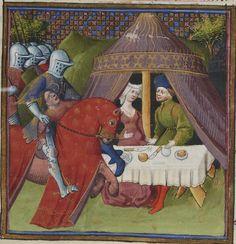 Lancelot-Graal. 3° « L'Ystoire Lancelot du Lac », la Quête du Saint Graal, la Mort d'Arthus de « GAUTIER MOAB ». Auteur : Maître des cleres femmes (13..-14..). Enlumineur Date d'édition : 1301-1400 Type : manuscrit Langue : Français