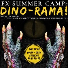 """https://www.facebook.com/events/938217452965635/FX  Summer camp for children and teens is designed to give aspiring FX Artists or Halloween lovers the knowledge to create """"out of the kit"""" special makeup effects and characters utilizing everyday household materials and minimal specialty product.   This summer's session will focus on Dinosaurs and Reptilian Creatures with each student working through the creation of a pair of monster gloves and matching mask that will accompany them home…"""