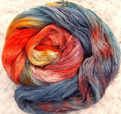 Baby Alpaca /Silk Yarn Lace 2ply Hand Dyed Elvincraft Stormy Atlantic Sunset