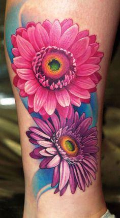 65 Daisy Tattoo Designs for flower lovers - Tatoo Flowers, Wildflowers Tattoo, Daisy Flower Tattoos, Sunflower Tattoos, Daisies Tattoo, Daisy Flowers, Gerbera Daisy Tattoo, Purple Flowers, Butterfly Tattoos