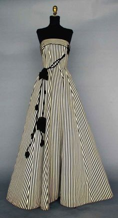 BLACK & WHITE BALLGOWN, 1950s Silk faille in black & white stripes, strapless, princess seams, full skirt, black velvet & chiffon trailing rose trim